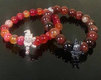 Girl's Bracelet,Bracelet for Girls healing stones, Red & Brown Agate,8mm, 10mm,Colourful Agate Bracelet,Gift for Girls,Gift for Her