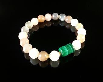Grade AA Moonstone and Malachite Bracelet,8mm, Pregnant Mom, Pregnancy Bracelet,Fertility Bracelet,Fertility & Pregnancy, Women's Bracelet
