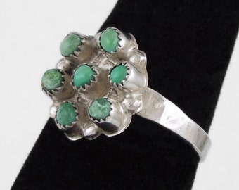 Vintage Handcrafted Sterling Silver Ring w/ Turquoises - Size 7.25