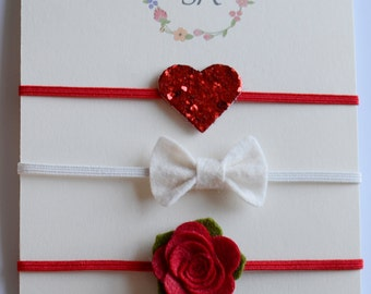 Red glitter Set - Felt Baby Headband, Newborn Headband, Baby Girl Headband, Flower Headband