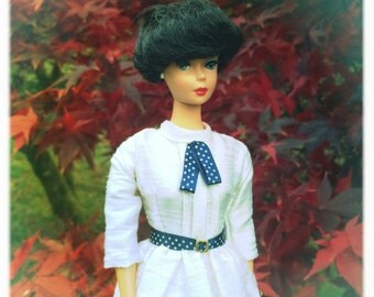 Barbie Clothes, Barbie Doll Clothes, Barbie Dress in Off White Silk, Barbie Clothes Handmade