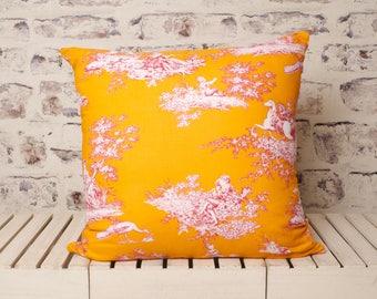 large toile de jouy cushion//toile de jouy pillow//orange toile de jouy//orange pillow//orange cushion pillow//orange toile