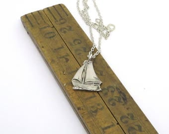 sail boat necklace, sailing necklace , regatta necklace, silver plate necklace