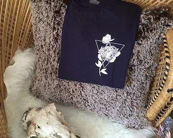 Navy Flower Abstract T-Shirt