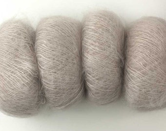 Rowan Kidsilk Haze in Pearl 590 neutral pale taupe, mohair, silk yarn