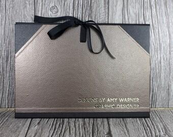 Personalised A4 Art portfolio / cachet portfolio / photo portfolio bronze metal dimple finish - handmade in the UK
