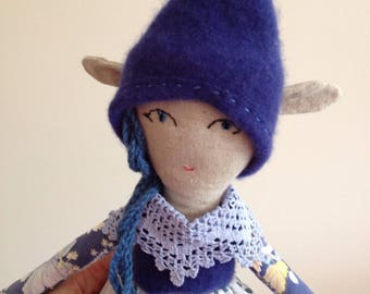Sprite doll cloth dolly pixie fairy blue white linen recycled wool cashmere floral handmade  UK seller