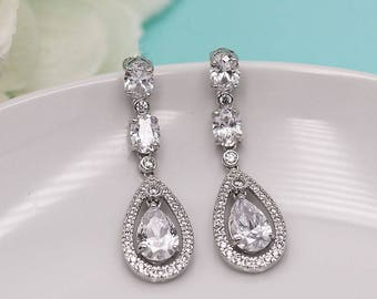 Wedding earrings, bridal earrings, tear drop pear cubic zirconia earrings dangle earring, wedding jewelry bridal Jewelry 204598543