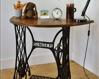 SOLD SOLD SOLD vintage laptop desk / console table, on cast iron Singer frame solid oak top reclaimed