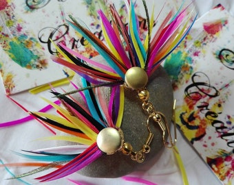 Multicolored feathers earrings.
