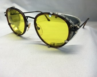 Custom Round Eyeglasses Tortoise Overlay American Optical Detachable Side Shields UV400 Yellow Lenses Holtzmann