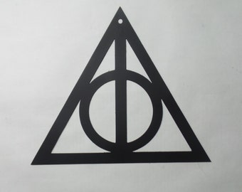 "Deathly Hallows metal wall art 12"" Harry Potter inspired   D13"