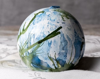 Hand-Painted Blue Green and White Ball Candle, Painted Ball Candle. Painted Sphere Candle, 9 inch Round Candle