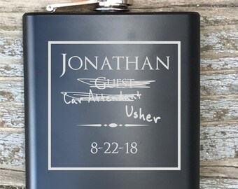 Personalized Usher Humor Flask Engraved Bachelor Party Gift Groomsmen