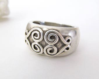 Sterling Silver Ring, Scroll Ring, Silver Band Ring, Silver Spiral Ring, Vintage Sterling Jewelry, Ring Size 7, Rings for Women