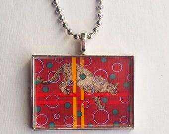 Cougar Necklace, Puma Jewelry, Mountain Lion, Resin Pendant, Big Cat Charm, Magenta Yellow, Wild Animal, Catamount, Wildlife