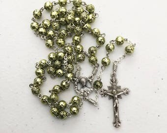 6mm metallic lime green rose bead rosary with Madonna / Sacred Heart center
