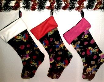 SALE Reindeer Christmas Holiday Stocking Facing Either Way