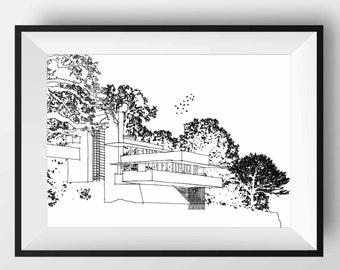 Falling Water House, Falling Water art, Falling Water print, Falling Water poster, Architecture art, Architecture print, Architecture poster