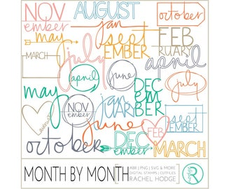 Month By Month Set: Photoshop Brushes, Digital Cut Files & Clip Art