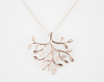 Rose Gold Tree Charm Necklace