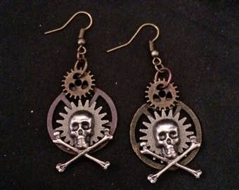 Steampunk Style Antiqued Silver And Copper Gears And Skull And Cross Bones Earrings