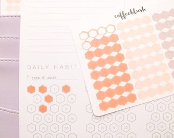 Daily Habit Tracker Hexagon/Honeycomb Stickers - Inkwell Press 2017 Color Schemes