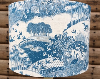 Countryside and Woodland in Blue Fabric Covered CEILING Lampshade 30cm Diameter  !!!LAST ONE!!!
