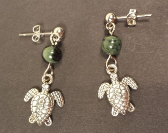 Sea Turtle Earrings with Kambaba Jasper Gemstone, handmade jewellery gift, hypo-allergenic post earrings