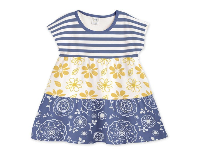 Baby Girl Dress, Baby Girl Summer Outfit, Toddler Girl Summer Dress, Newborn Girl Summer Dress Blue Yellow Floral, TesaBabe DR780BIHT0000
