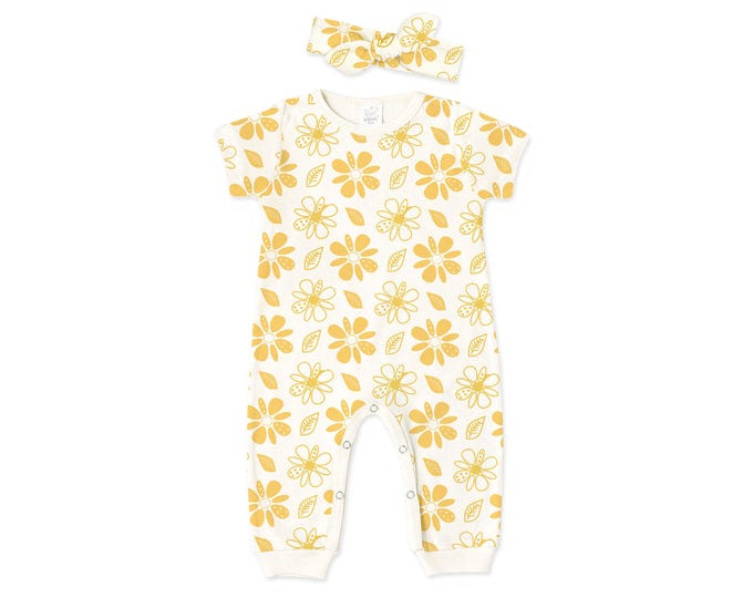 SUMMER SPECIAL! Baby Girl Coming Home Outfit, Baby Romper Headband, Yellow Baby Bodysuit, Short Sleeve Romper, Tropical Floral RH86HTIY59BHT