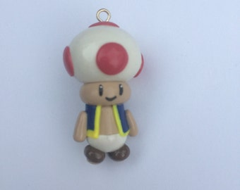 Mario Brother Toad Clay Charm