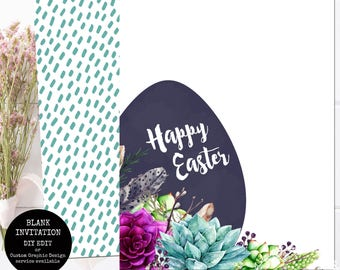 Printable Easter Invitation / You Edit Using Photo Software or Handwrite / Happy Easter Succulent Botanical Template INSTANT DOWNLOAD JPEG