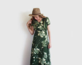 vintage green lilly maxi dress
