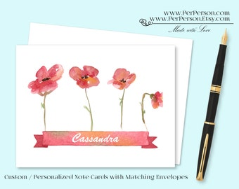 Free Ship!  Set of 12 Personalized / Custom Notecards, Boxed, Blank Inside, Floral, Banner, Flowers, Poppies, Poppy, Monogram, Name