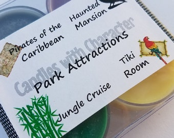 PARK ATTRACTIONS - Candles with Character | Soy Wax Candle | Hand Poured | Disney Scented | Wedding Favors | Gift | Tea Lights