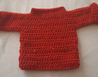 Hand made crocheted baby sweater