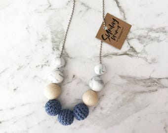 Navy blue crochet beaded necklace