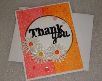 Handmade Blank Thank You Daisy Flower Greeting Card