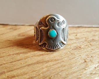 Vintage Bell Trading Post Sterling Silver and Turquoise Thunderbird Ring Fred Harvey Era Size 7 Cigar Band