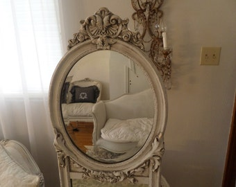 Beautiful Antique French Louis Ornate Trumeau Mirror Shabby Chic Gesso Details Carvings