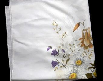 Vintage unused cotton floral handkerchief