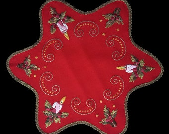 Vintage hand embroidered Christmas star