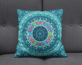 Boho Chic Hippie  Mandala Throw Pillows , Square , Rectangle , Many sizes Teal