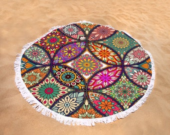 "Round  Beach Towel  Boho Chic Mandala    60"""