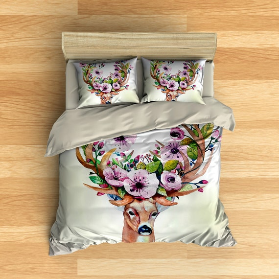 Floral Deer Antlers Bedding Duvet Cover Set Duvet Covers