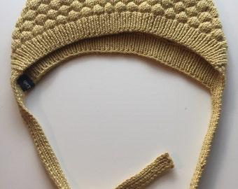 Bobble knit Bonnet hat in Mustard 12-24m