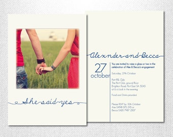 DIY Printable ~ Photo Invitation ~ Engagement Party ~ Engagement Photo ~ Engagement Invite ~ Handwritten Font ~ Engagement ~ Print Your Own
