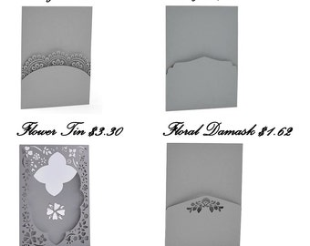 Laser Cut Panel Pockets for DIY invites or pocket fold enclosures. Many colors! 5.25 x7.25, works with 5x7 invitations, See Description