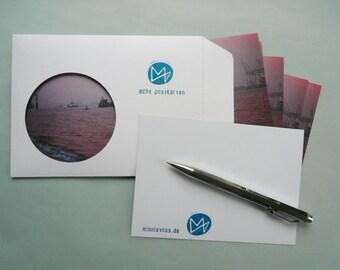 Elbe, eight postcards, postcards, set, postcard, minnievoss, Hamburg, analog photography, offset printing, postcard